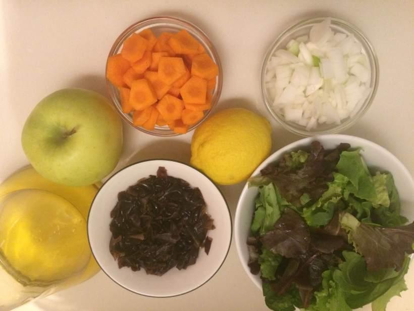 ensalada de manzana y alga dulse